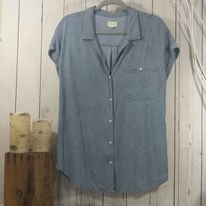 ID:23 Hayford One Pocket Chambray Button Down Top